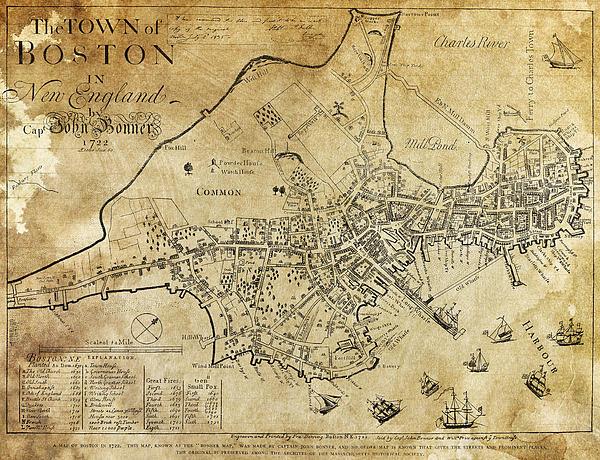 Daniel Hagerman - Boston Bonner Map 1722