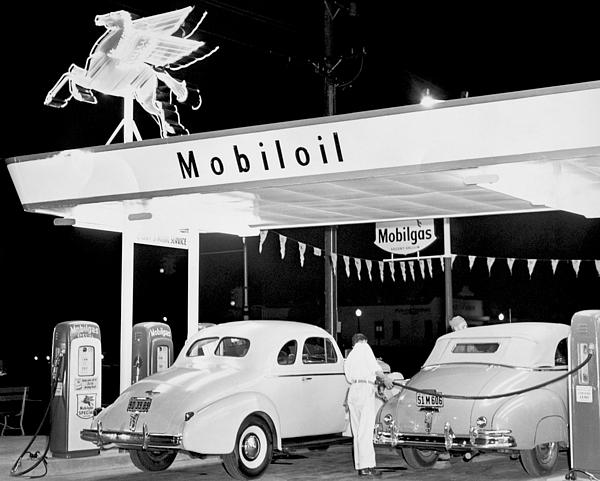 Mobil Gas Card >> Cars At A Mobil Gas Station Greeting Card
