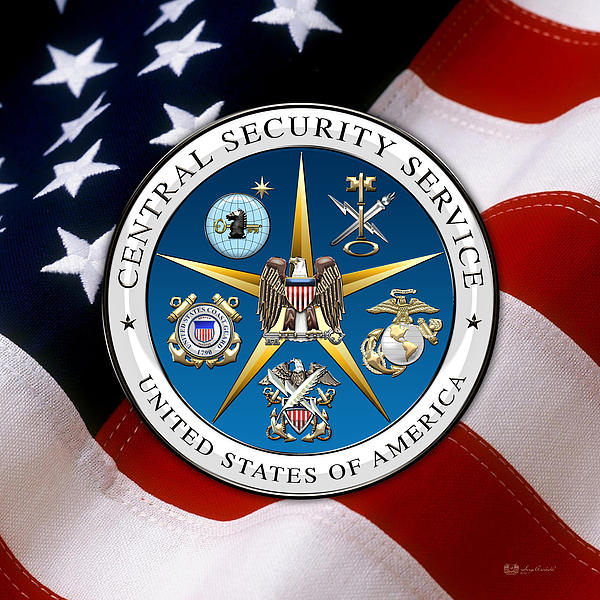 Central Security Service - C S S Emblem Over American Flag Tote Bag