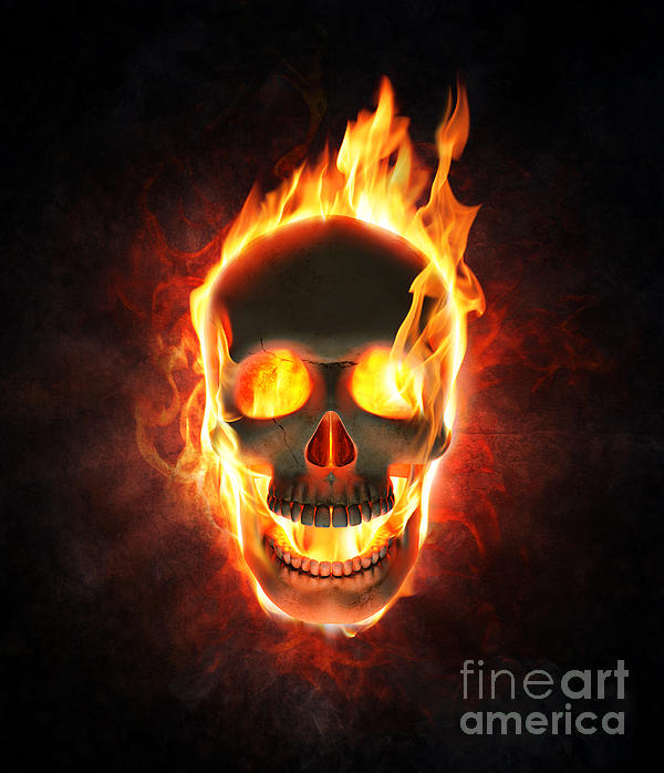 Evil Skull In Flames And Smoke Duvet Cover For Sale By
