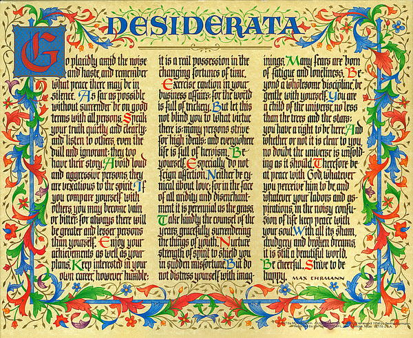 picture about Desiderata Printable identify Florentine II Desiderata Poem Greeting Card