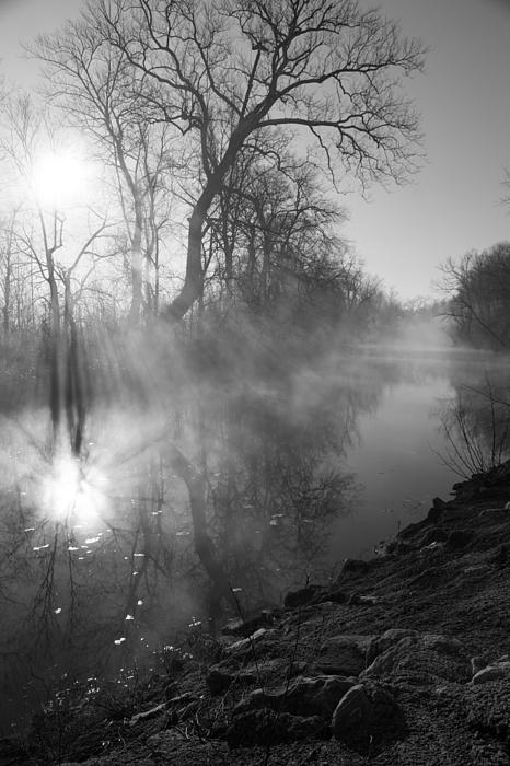 Jennifer White - Foggy River Morning Sunrise