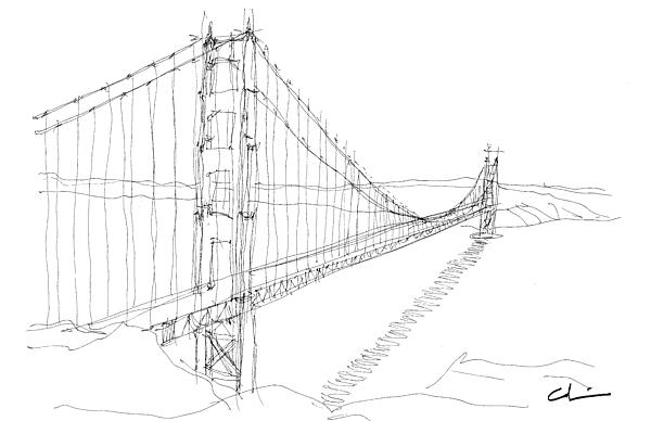 Golden Gate Sketch Greeting Card For Sale By Calvin Durham