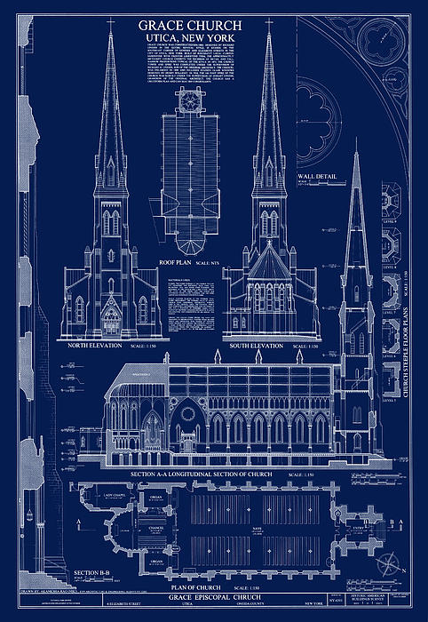Grace church blueprint fleece blanket for sale by daniel hagerman boundary bleed area may not be visible malvernweather Gallery