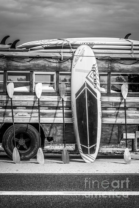 Hang Ten Vintage Woodie Surf Bus Florida Black And White Iphone X Case