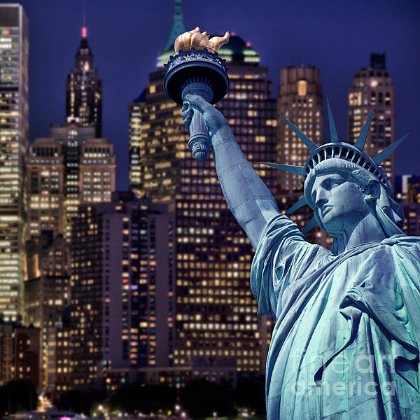 Delphimages Photo Creations - Lady Liberty by night