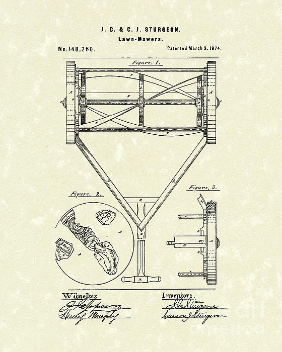 Prior Art Design - Lawn Mower 1874 Patent Art