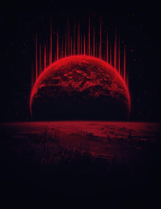 Philipp Rietz - Lost Home Colosal Future Sci Fi Deep Space Scene in diabolic Red
