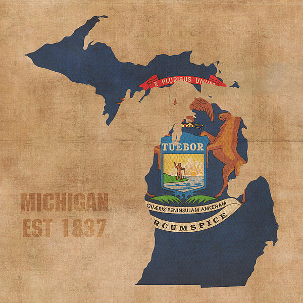 Michigan state flag map outline with founding date on worn parchment michigan state flag map outline with founding date on worn parchment background shower curtain for sale by design turnpike gumiabroncs Gallery