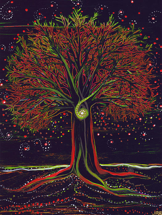 First Star Art  - Mystic Spiral Tree red by jrr