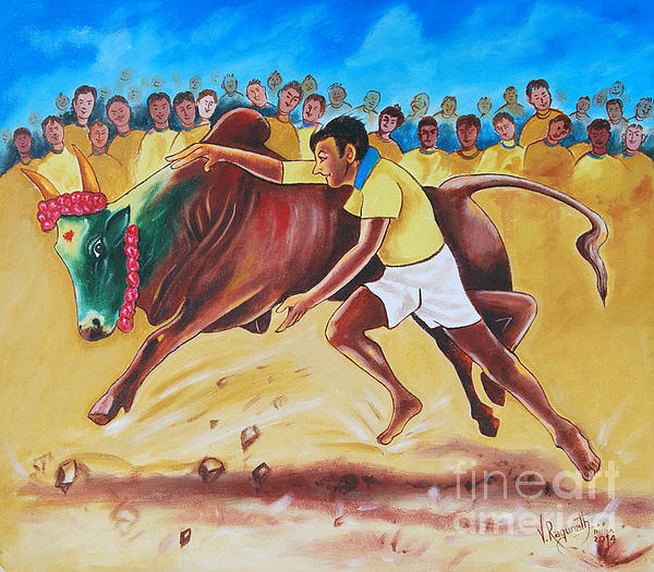 No More Jallikattu In India Greeting Card For Sale By Ragunath