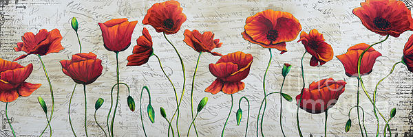 Orange poppies original abstract flower painting by megan duncanson boundary bleed area may not be visible mightylinksfo
