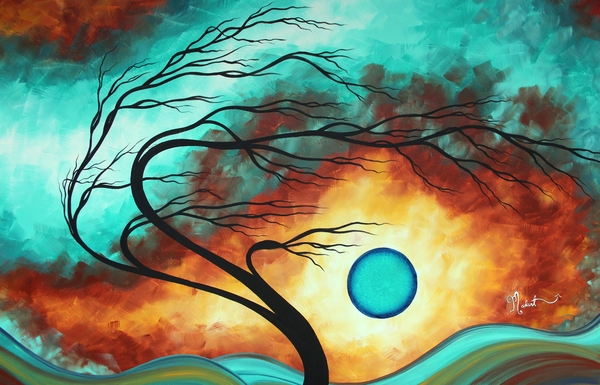 Megan Duncanson - Original Bold Colorful Abstract Landscape Painting FAMILY JOY I by MADART