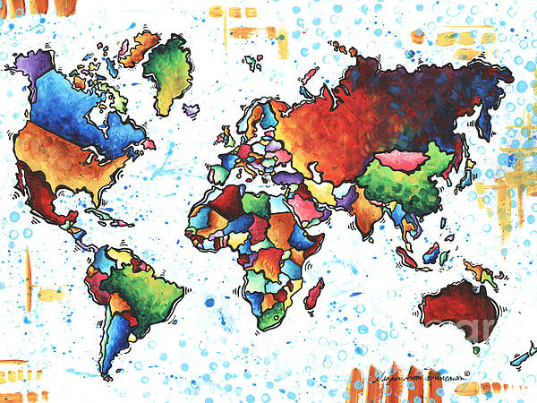 Original Vibrant Colorful World Map Pop Art Style Painting By Megan  Duncanson Bath Towel