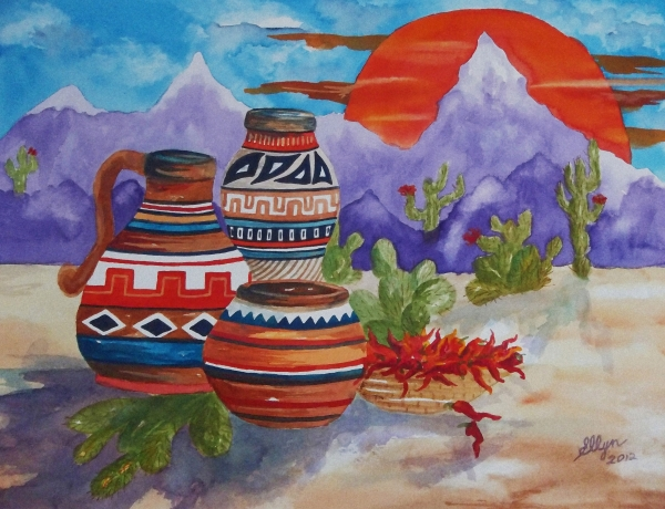 Ellen Levinson - Painted Pots and Chili Peppers