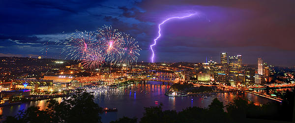 Jon Holiday - Pittsburgh Pennsylvania Skyline Fireworks at Night Panorama