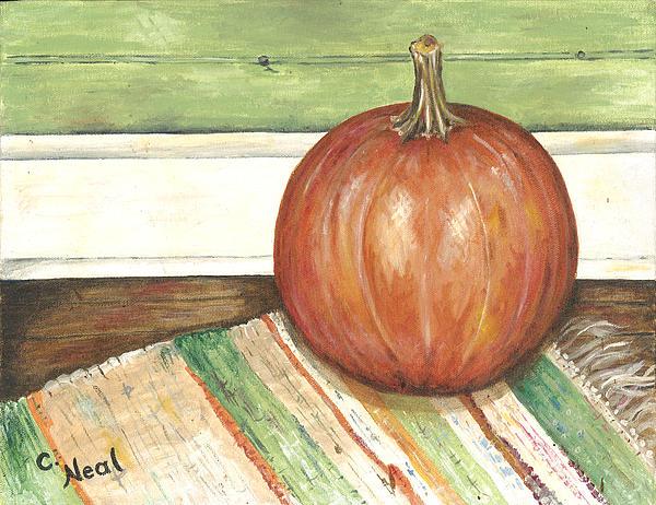 Carol Neal - Pumpkin on a Rag Rug