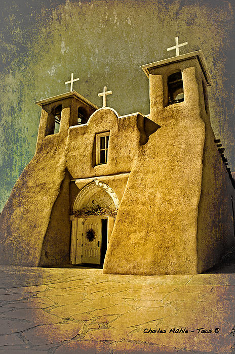 Charles Muhle - Ranchos church in old gold