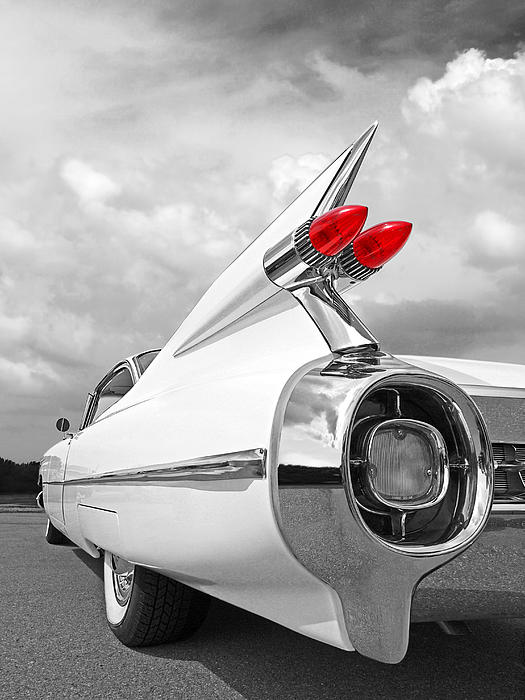 Gill Billington - Reach For The Skies - 1959 Cadillac Tail Fins Black and White