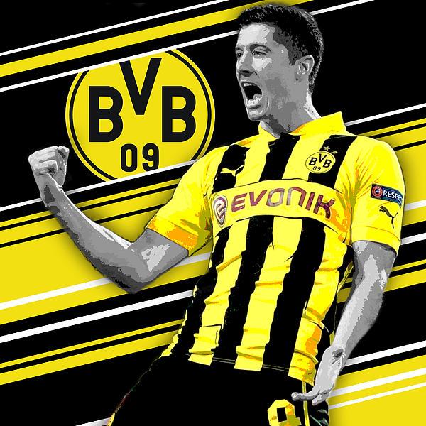 size 40 87913 64c85 Robert Lewandowski Borussia Dortmund Print Greeting Card