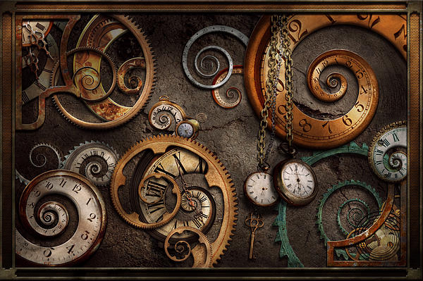 Steampunk Abstract Time Is Complicated Greeting Card for Sale – Steampunk Birthday Card
