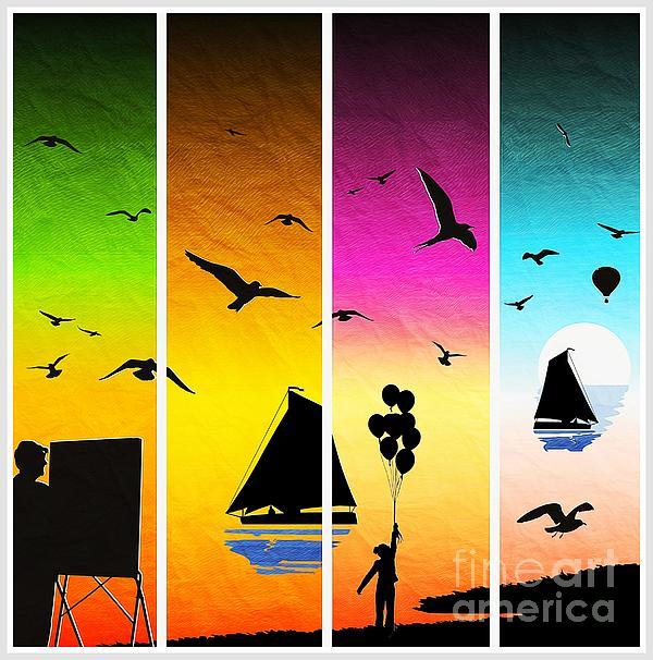 Stefano Senise - Sunset seascape with sailboats