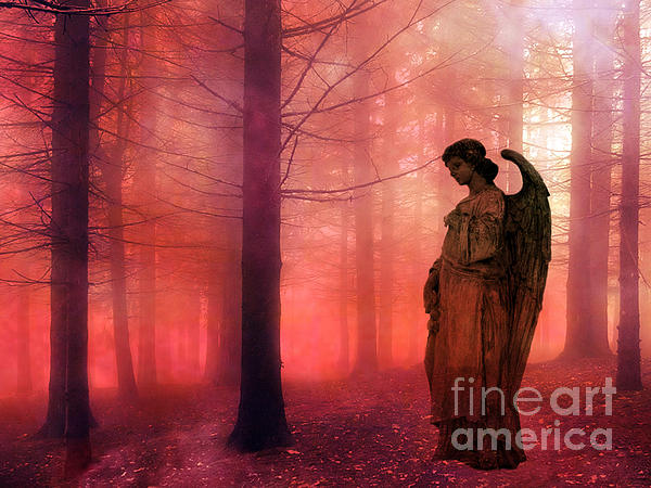 Kathy Fornal - Surreal Fantasy Angel In Foggy Red Woodlands