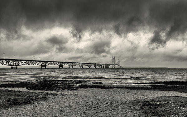 John M Bailey - The Mackinac Bridge B W