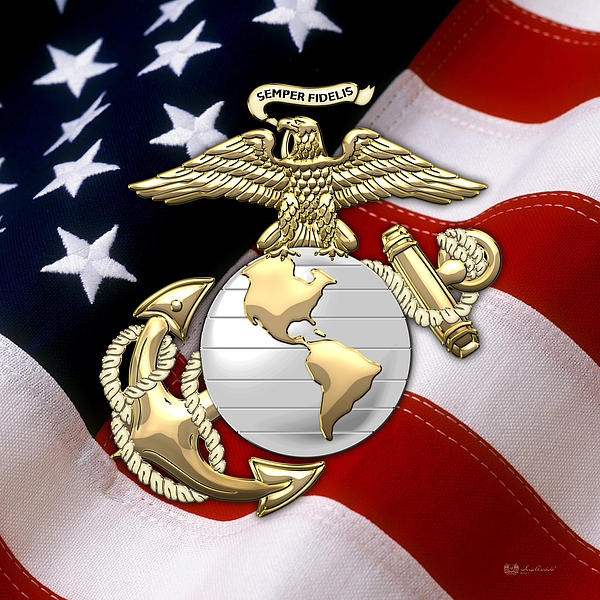 U. S. Marine Corps - U S M C Eagle Globe and Anchor over American Flag.  Greeting Card for Sale by Serge Averbukh