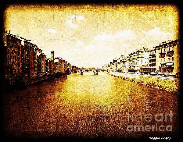 Maggie Vlazny - Vintage View of River Arno