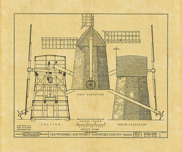 Vintage windmill blueprint greeting card for sale by andrew fare boundary bleed area may not be visible malvernweather Images