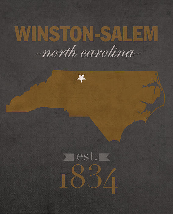 Wake Forest University Demon Deacons Winston Salem Nc College Town State  Map Poster Series No 121 Greeting Card