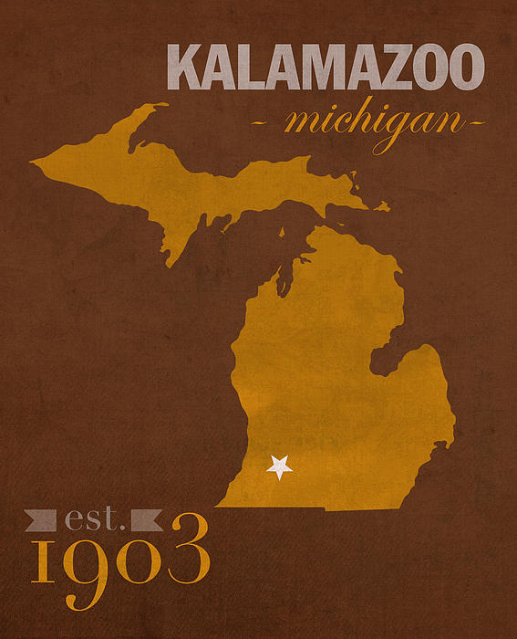 Western Michigan University Broncos Kalamazoo Mi College Town State Map  Poster Series No 126 Greeting Card