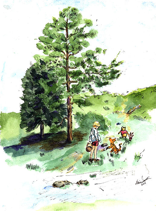 Maria Hunt - Winnie the Pooh with Christopher Robin after E H Shepard