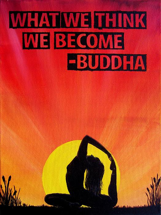 Yoga Sunrise Buddha Quote Painting Bath Towel For Sale By Michelle