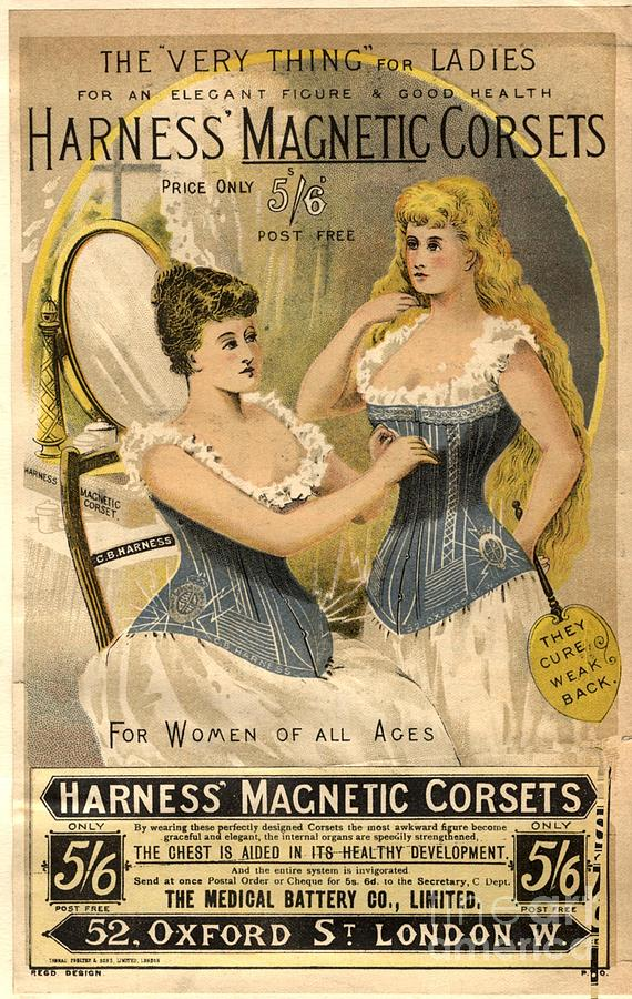 1890s Drawing -  1890s Uk Corsets Girdles Magnetic by The Advertising Archives