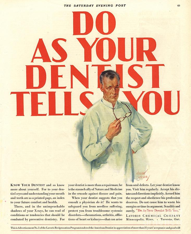 1920�s Drawing -  1920s Usa Dentists Lavoris by The Advertising Archives