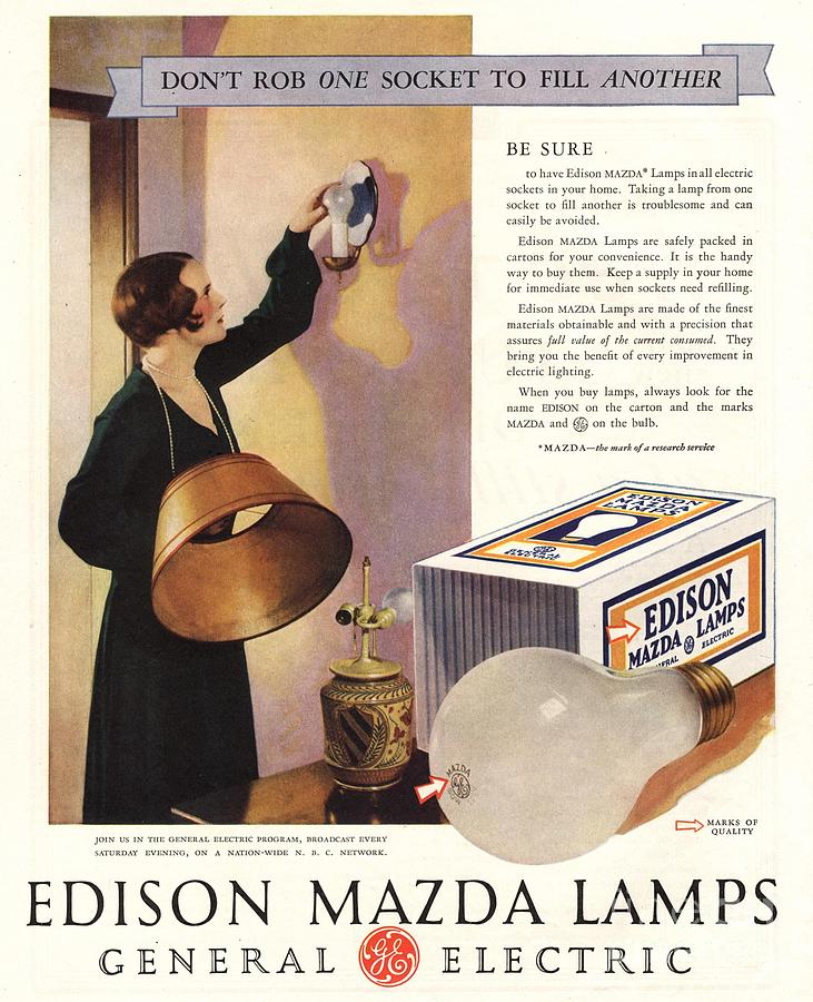 1920s Drawing -  1920s Usa Edison Mazda Lamps General by The Advertising Archives