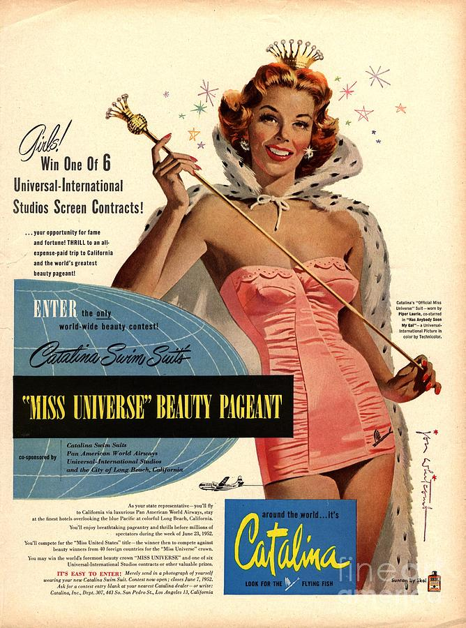 1950s Usa Catalina Womens Swimming Drawing By The Advertising Archives