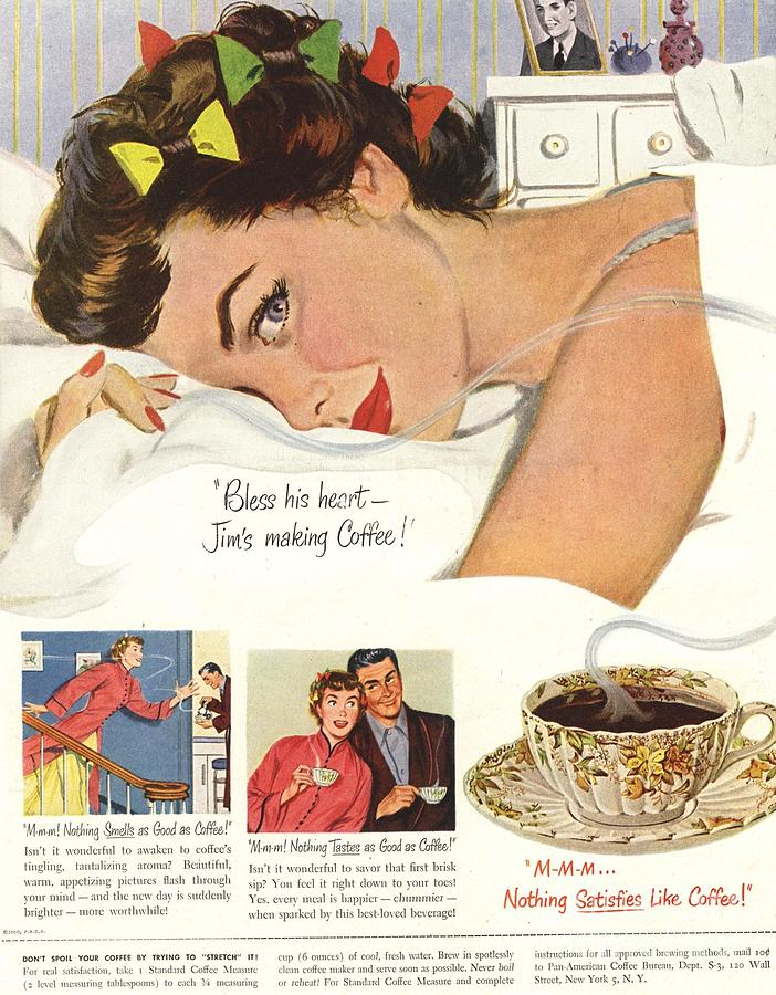 1950s Drawing -  1950s Usa Sleep Sleeping Coffee Smell by The Advertising Archives
