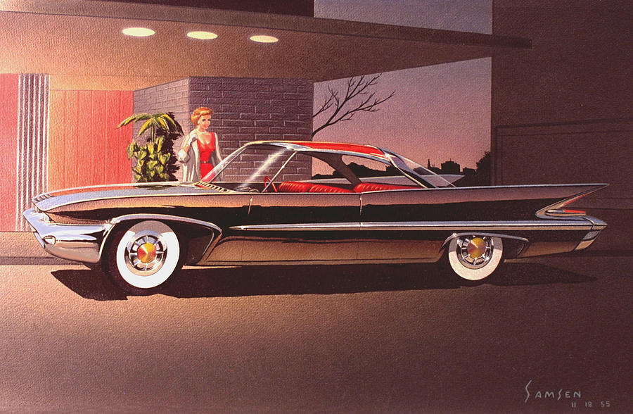 Classic Car Designs Painting -  1960 Desoto Classic Styling Design Concept Rendering Sketch by John Samsen