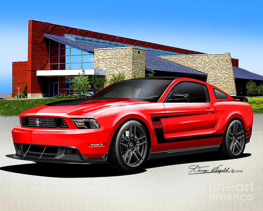 2012 Mustang Boss 302 Race Red Drawing By Danny Whitfield