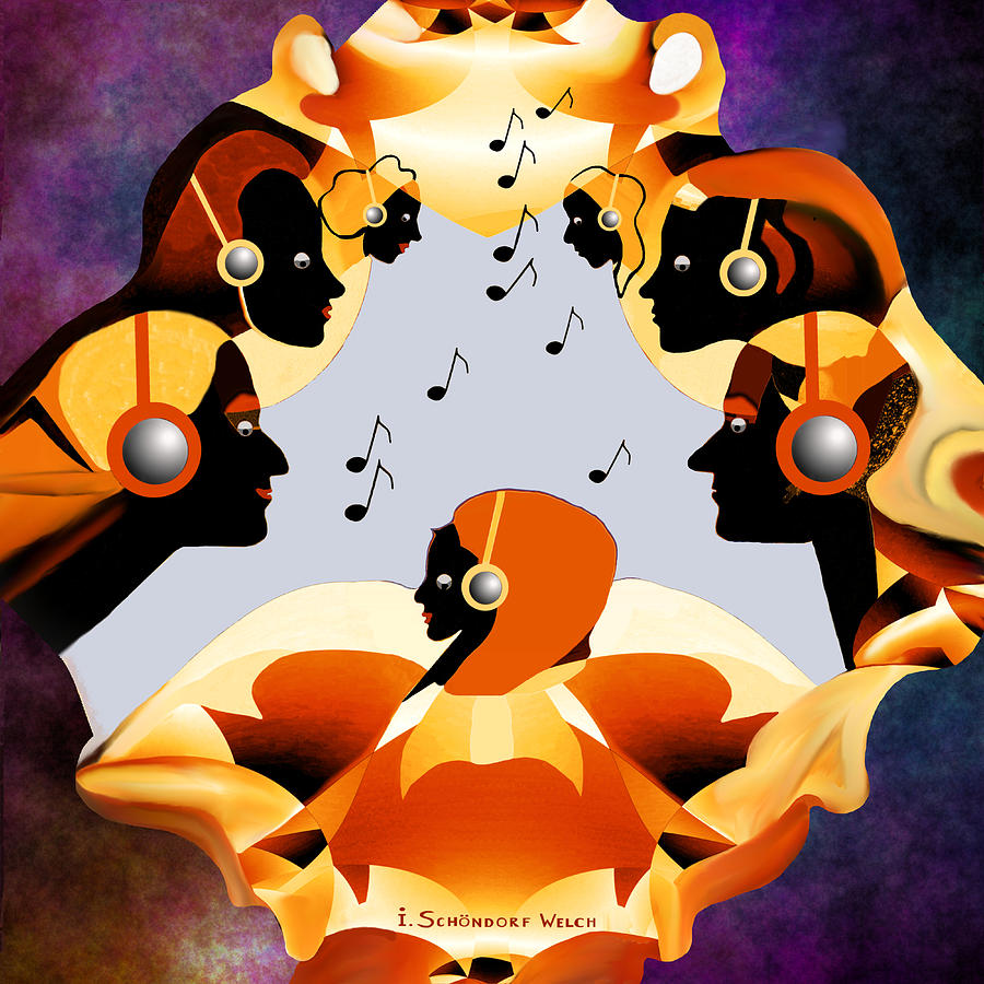 Faces Digital Art -   693 -  Listen  To  Music   by Irmgard Schoendorf Welch