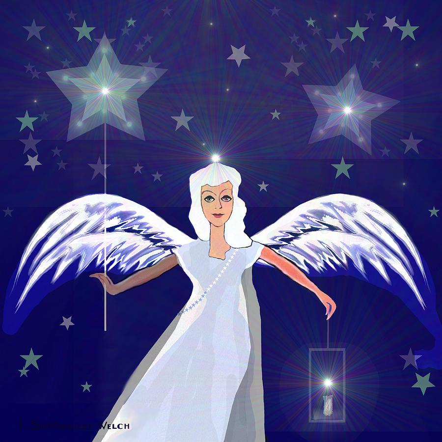 806 Digital Art -  806 -  Christmas Angel  With  Lantern  by Irmgard Schoendorf Welch