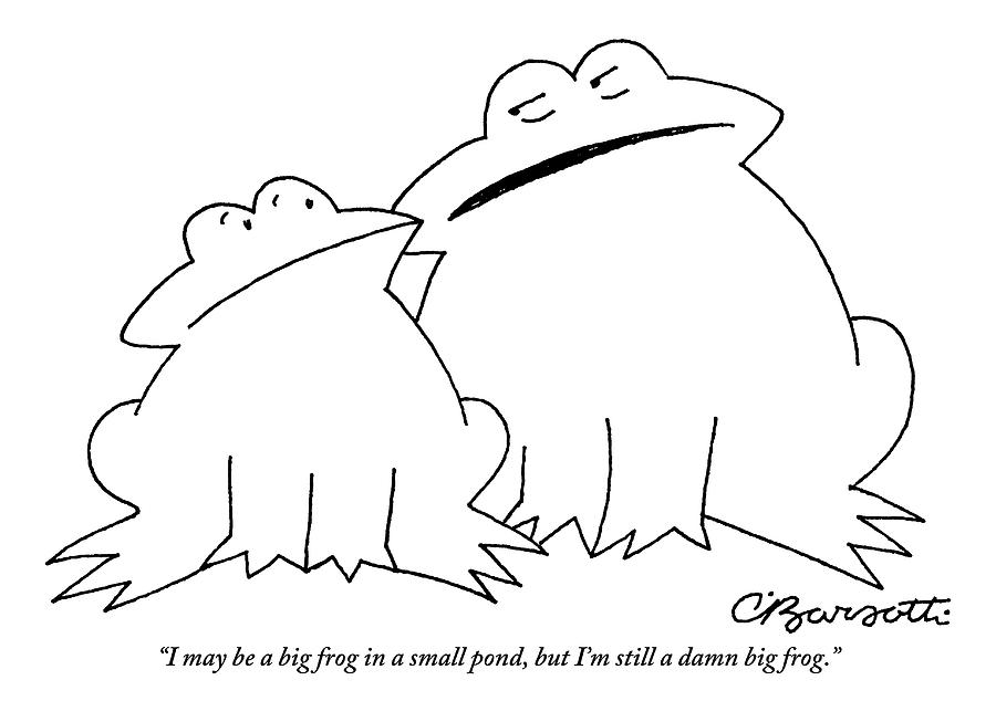A Big Frog Talks To A Smaller Frog Drawing by Charles Barsotti