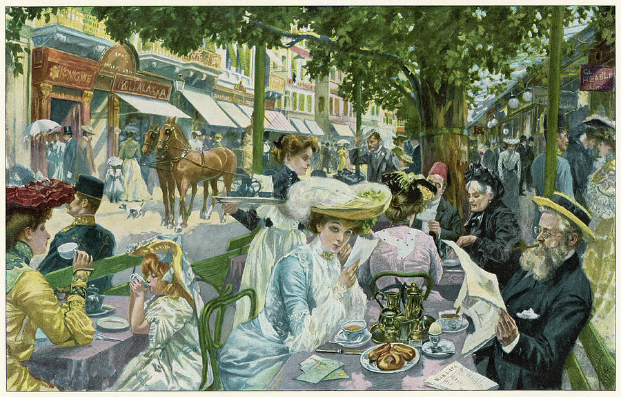 Alte Drawing -  A Busy Time In The alte  Wiese Cafe by Mary Evans Picture Library