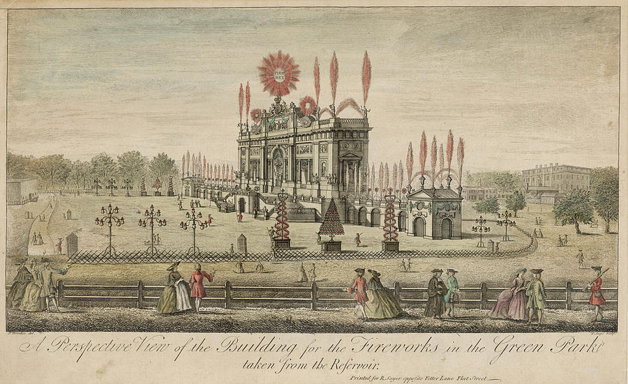 Green Drawing -  A Fireworks Display At Green  Park by Mary Evans Picture Library