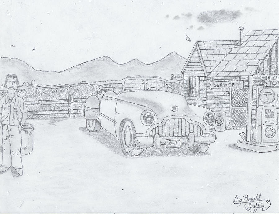 Vintage Car Drawing -  A Gas Station Days The Of Past by Gerald Griffin