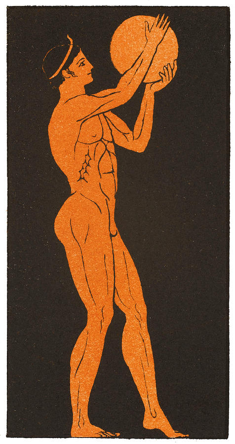 Greek Drawing -  A Greek Discus Thrower by Mary Evans Picture Library