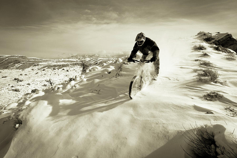 Action Photograph -  A Man Riding His Mountain Bike by Whit Richardson